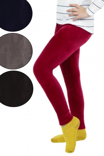 Welurowe legginsy dziecięce 6-pak